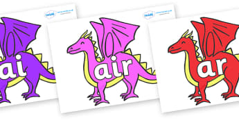 Phase 3 Phonemes on Dragons - Phonemes, phoneme, Phase 3, Phase three, Foundation, Literacy, Letters and Sounds, DfES, display