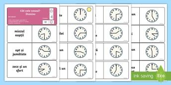 Citește ceasul - Domino - ceasul, citirea ceasului, unități de măsură, timpul, română, materiale, matematică, timp, mă