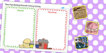 The Three Little Pigs Material Sorting Activity Cut Lines - pig