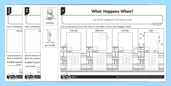 What Happens When? Differentiated Activity Sheets - Measurement, measuring, measure, time, sequence