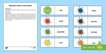 Different Colours Card Game - Spanish - Spanish, KS2, vocabulary, colours, different, card, game, playing, clasroom, organisation,Scottish
