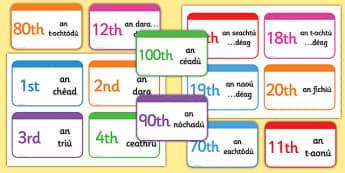Gaeilge Ordinal Number Flashcards - gaeilge, ordinal number, flashcards, number, ordinal
