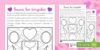 Ficha de buscar ángulos: San Valentín - San Valentín, ángulos, geometría, formas, corazones,Spanish