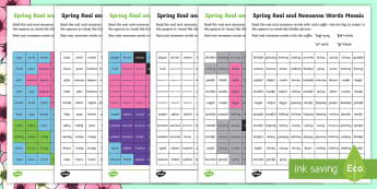 Spring Phase 6 Phonics Mosaic Activity Sheet - Spring UK, spring, seasons, Letters and Sounds, Phonics, Phase 6, English Reading, suffix, suffixes