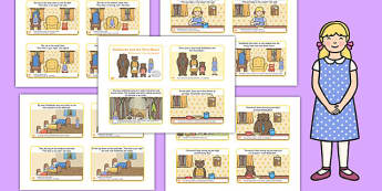 Goldilocks and the Three Bears Story Sequencing 4 per A4 with Text Polish Translation - polish