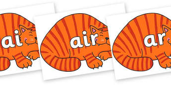 Phase 3 Phonemes on Hullabaloo Cat to Support Teaching on Farmyard Hullabaloo - Phonemes, phoneme, Phase 3, Phase three, Foundation, Literacy, Letters and Sounds, DfES, display