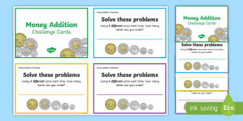 Adding Coins Maths Challenge Cards - Math, Number Sense and Numeration, Addition, Money, Junior, Grade 4, Grade 5, Grade 6.