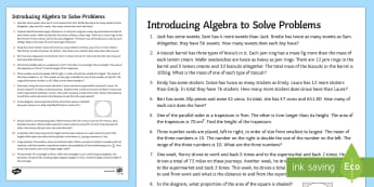 Secondary 15 Minute Revision Activities: Introducing Algebra to Solve Problems Activity Sheets - worksheet Problem Solving, Formulating Equations, Simultaneous, Linear, Quadratic , Using Forming