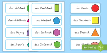 2D Shape Word Cards German - german, 2d shape, word cards, 2d, shape, maths, numeracy