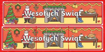 Merry Christmas Display Banner Polish - polish, merry christmas, display banner, banner, banner for display, classroom display, header, display header, themed banner