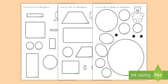 Ficha de actividad: Construir con figuras planas - ficha, figuras planas, figuras 2D, formas planas, formas 2D, círculos, rectángulos, triángulos, ,