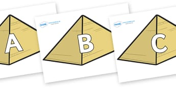 A-Z Alphabet on Pyramids - A-Z, A4, display, Alphabet frieze, Display letters, Letter posters, A-Z letters, Alphabet flashcards