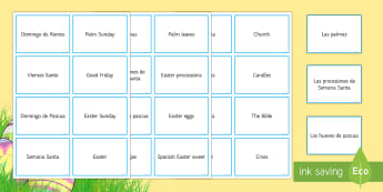 Easter Vocabulary Matching Cards - Spring, Easter, KS3, Spanish, vocabulary, word, cards.