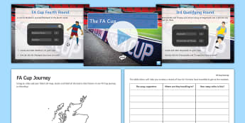 FA Cup Journey Map Challenge Activity Pack - fa cup, journey, map, maths, geography