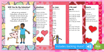 Valentine's Day Songs and Rhymes Resource Pack - Valentine's day, love, hearts, friend