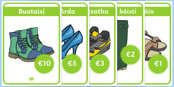 An Siopa Bróg Shoe Shop Role Play Posters Gaeilge - irish, gaeilge, Shoe shop, shoes, role play, shop, trainers, display, poster, shoe box, labels, measuring chart, word cards