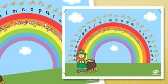 Phase 1 British Sign Language Fingerspell Rainbow Display Poster