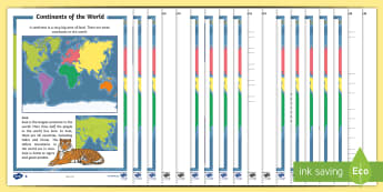 Continents of the World Differentiated Reading Comprehension Activity - Australian Curriculum, HASS, The way the world is represented in geographic divisions and the locati
