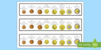 Etiquetas de mesa: Monedas de euro - monedas, euros, céntimos, céntimo, ayuda visual, tiras, mesa, etiquetas,Spanish