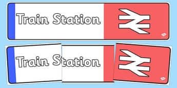 Train Station Display Banner - Train Station display, role play, train, banner, poster, post office, station, tickets, platform, trains, waiting room, timetable, luggage, whistle