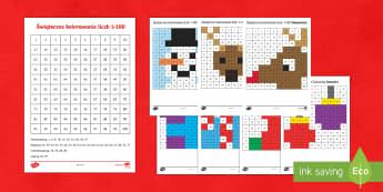 Karty Świąteczne kolorowanie liczb od 1 do 100 - święta, świąteczne, gwiazdka, kolorowanie, liczby, liczenie, matematyka, gwiazdor, mikołaj, ,Au