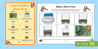 How to Build A Worm Farm Sequencing Activity - Australia YR 3 and 4 Design Technology, recycling, reuse, food scraps, worm, worm farm, animal envir