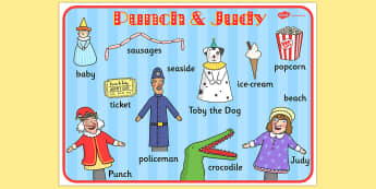 Punch and Judy Word Mat - visual aid, key words, writing aid