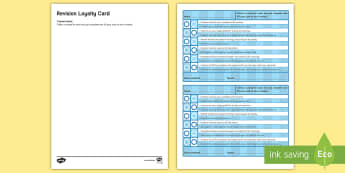 English Revision Loyalty Card 1 Challenge Cards - Secondary - 15 Minute Revision Activities, secondary, English, revision, loyalty, reward, scheme, mi