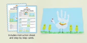 Handprint Chicken With Chicks Craft Instructions - chicken, craft