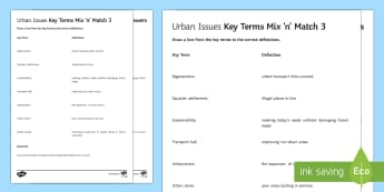 Urban Issues Mix and Match 3 Activity Sheet - Urban Issues and Challenges AQA GCSE, worksheet, match