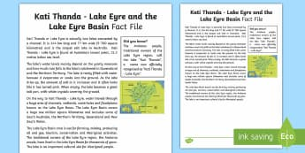 Kati Thanda - Lake Eyre Fact Sheet - Water in Australia, Kati Thanda, Lake Eyre, Kati Thanda Lake Eyre, South Australia, Salt lake, lake,