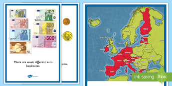 ROI Euro Money Fact Cards - fact cards, euro, eurozone, display area, display cards, currency, Ireland, ROI, Irish