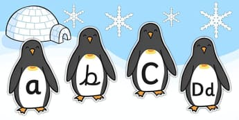 A-Z Alphabet on Penguins  - Penguin, A-Z,  Alphabet frieze, Display letters, Letter posters, A-Z letters, Alphabet, Winter, Christmas, xmas, editable, winter words, snowflake, snow, winter, frost, cold, ice, hat, gloves, display words