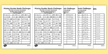 Missing Number Bonds Challenges Activity Sheets Romanian Translation - romanian, missing number, number bonds, challenges, activity sheet, worksheet