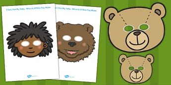 Ive Lost My Teddy Where Is It Role Play Masks - Where's My Teddy, teddy, woods, forest, lost, bear, role play mask, role play, reading, story, story book, story resources