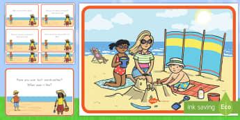 Summer Beach Scene and Question Cards - summer, summer season, first day of summer, summertime