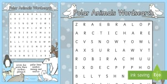 Polar Animals Wordsearch - wordsearches, puzzle, activity, game