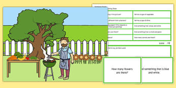 Barbecue Scene Blanks Level 2 Questions - receptive language, expressive language, verbal reasoning, language delay, language disorder, comprehension, autism