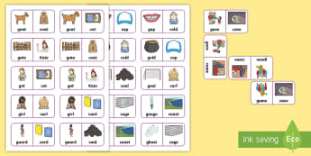 'k' and 'g' Minimal Pair Dominoes  - minimal pairs, velars, pre vocalic voicing, dyspraxia, articulation, phonology, speech sounds