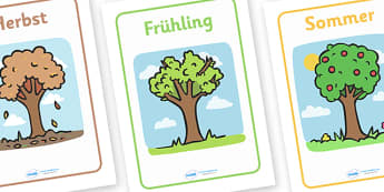German Seasons Display Posters - Seasons, season, autumn, winter, spring, summer, fall, seasons activity, seasons display, four seasons, MFL, German, Modern Foreign Languages, foundation, languages, display