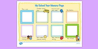School Year Memory Write Up - usa, america, writing template, school memories