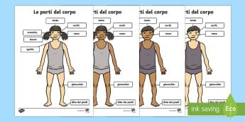 Parti del Corpo A4 Testa e Spalle Poster - le, pari, del corpo, poster, figure, A4, nomi, scienze, italiano, italian, materiale, scolastico