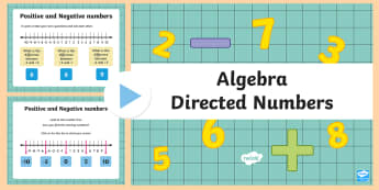 Directed Numbers - Positive and Negative Numbers PowerPoint - Algebra, Directed Numbers, positive, negative, number line. plus. minus, difference,Irish
