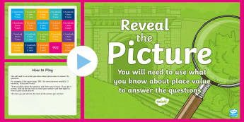 Place Value (3-Digit Numbers) Reveal the Picture Plenary Activity - CfE Numeracy and Mathematics, ICT, interactive, revision, recap, number, number processes, HTU, hund