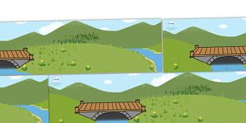 Small World Background (Three Billy Goats Gruff) - Three Billy Goats Gruff, small world background, traditional tales, tale, fairy tale, goat, billy goat, troll, sweet grass, bridge