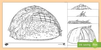 Australian Aboriginal Shelters Colouring Pages - indigenous Australians, Australian buildings, ACSSU003 ,Australia
