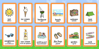 Polish Translation Summer Pairs Matching Game - polish, summer