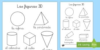 Hoja de colorear: Las figuras 3D - figuras 3D, cuerpos geométricos, mates, matemáticas, geometría, aristas, vértices, caras, colore