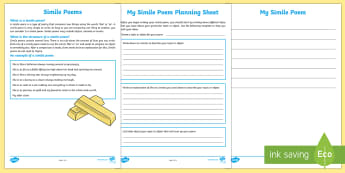 Simile Poem Writing Template-Australia - Literacy, Interpreting, analysing, evaluating, english, poetry, writing, poems, poetry, simile poems