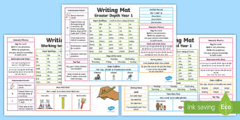 Year 1 Differentiated Writing Mat - KS1, year 1, writing, spelling, punctuation, grammar, support, display, table mat, writing mat, inde
